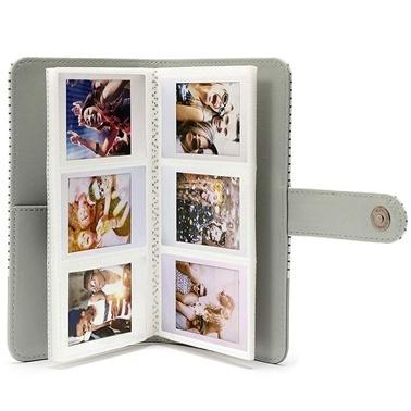 Fujifilm instax Çizgili mini Film Uyumlu Gri 108'li Dikdörtgen Albüm Renkli